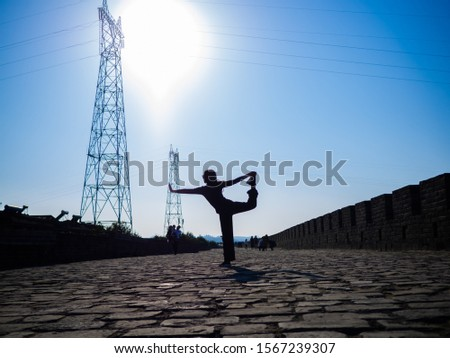 yoga on the ancient street