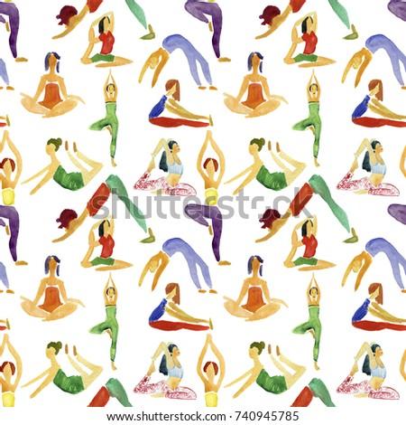 yoga  pattern icons art web shape.  design concept of yoga, relax, happiness, meditation, indian Stock fotó ©