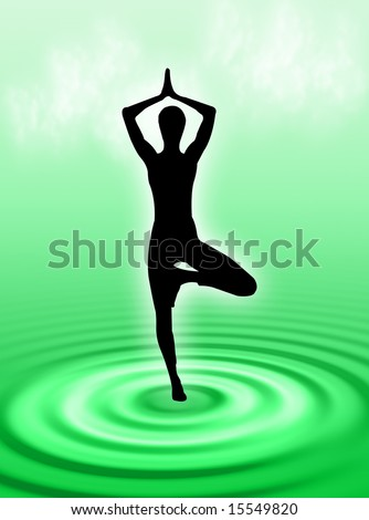 Yoga pose and attitude on the water ripple