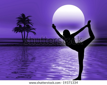 Yoga pose and meditation in the ocean landscape - stock photo