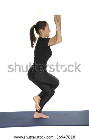 yoga pose  garudasana  eagle pose stock photo 36947818