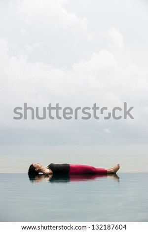 yoga pose relax floating on the water savasana corpse