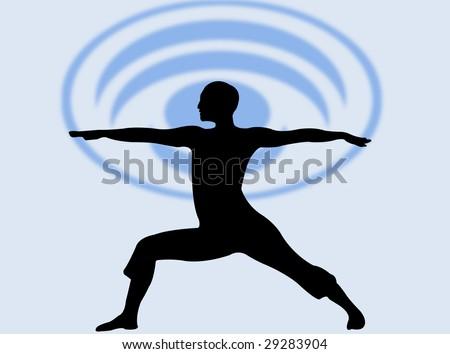 Yoga pose silhouette as symbol of meditation and relax - stock photoYoga Meditation Pose Silhouette