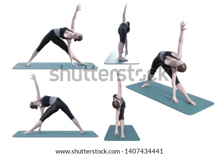 Yoga Poses Basic Triangle Pose on White Blackground. High resolution 3D rendering.