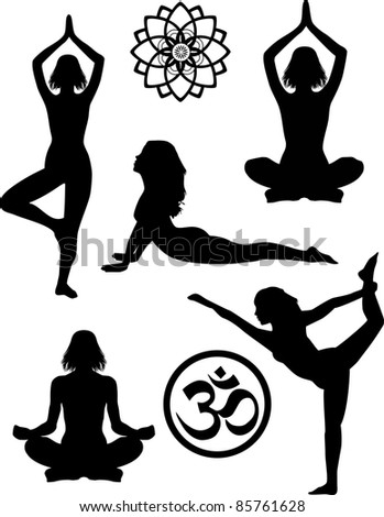Yoga silhouettes and symbols - stock photo