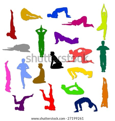 Yoga silhouettes in different poses and attitudes