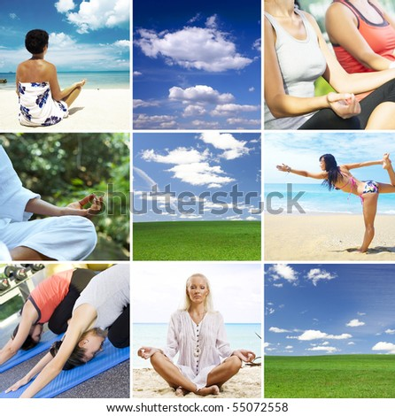 Yoga theme collage composed of different images