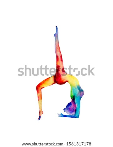 Yoga watercolor silhouette. Hand drawn illustration with colorful aura body, great design for any purposes. Healing and spiritual energy.