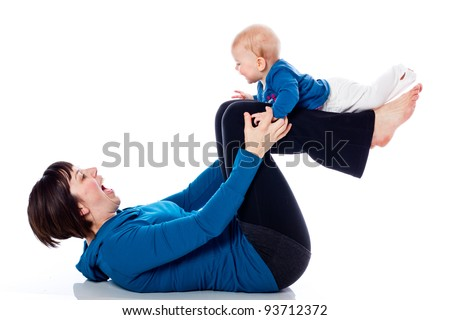 Yoga with mother and baby on white background