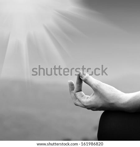 Yoga woman in lotus pose. Girl practicing yoga outdoors - stock photo