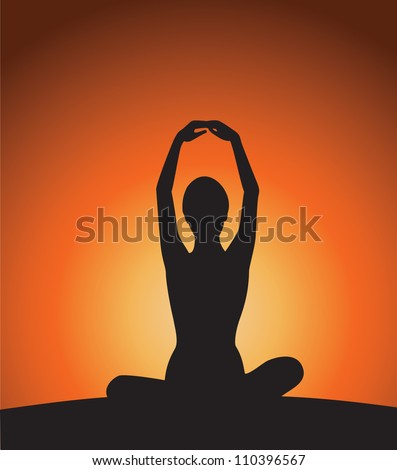 Yoga woman silhouette on sunset.
