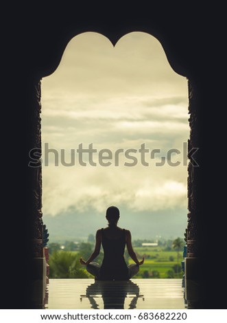 yoga woman sitting in lotus...