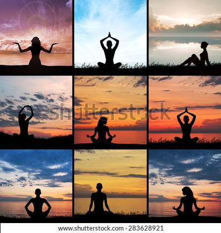 Yoga, zen and meditation set collage. Meditating silhouette.
