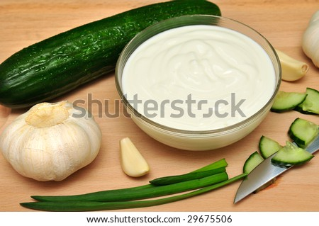 Yoghurt with the cucumber and with chives.