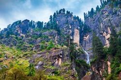 Yogini waterfall near Vashisht and Manali village in Himalayas, Himachal Pradesh in north India