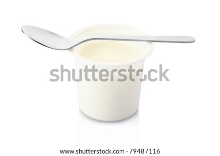 Yogurt and spoon isolated on white, clipping path included