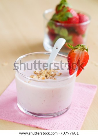 Yogurt breakfast with strawberry and oatmeal