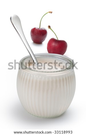 Yogurt with fresh cherries