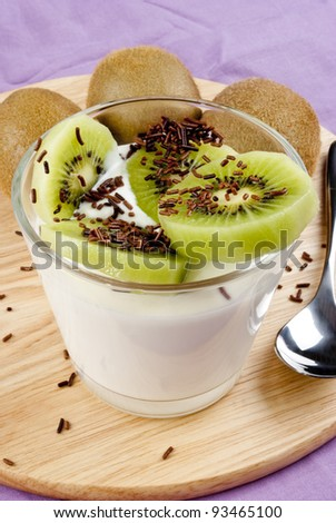 yogurt with fresh sweet kiwi and chocolate sprinkles