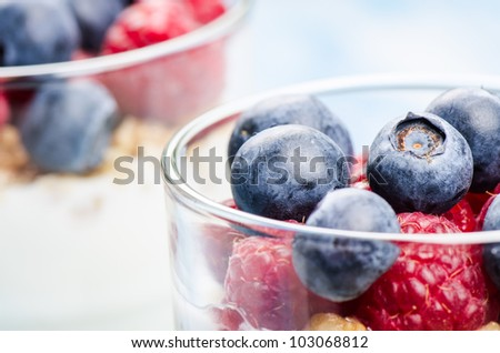 Yogurt with raspberries and blueberries