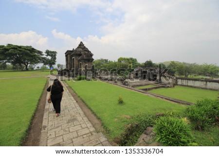 Yogyakarta, Indonesia - March, 13 2019 :  two main arches of Ratu Boko temple #1353336704
