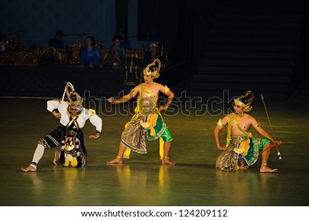 YOGYAKARTA INDONESIA SEP 12 Ramayana Ballet performs at Prambanan temple on SEP 12 2012 in Yogyakarta Indonesia It is based on epic Hindu poem and represents Javanese style culture and music