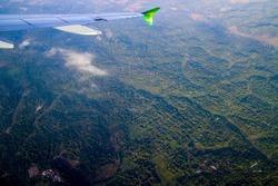 Yogyakarta, Indonesia,  view from an airplane window. citilink.