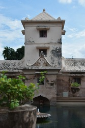 YOGYAKARTA, October 2019 - A spectacular view of Taman Sari water castle, ancient royal bathing complex. It had multiple functions, such as a resting area, a meditation area and a hiding place.