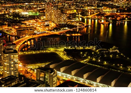Yokohama city sky view at night
