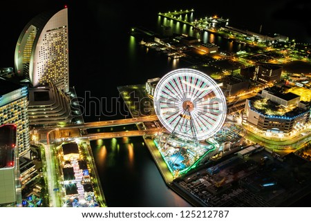 Yokohama city sky view at night