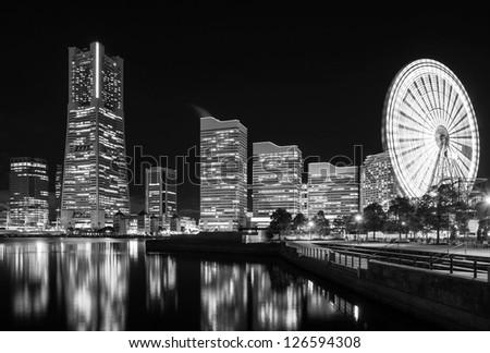 Yokohama city skyline at night