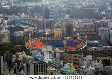 YOKOHAMA, JAPAN - APRIL 24 : Aerial view of Yokohama Stadium on 2 April 2015. Yokohama, Japan. Yokohama has one of the best baseball team in Japan,