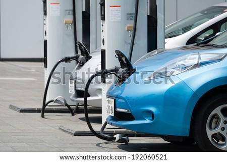 YOKOHAMA, JAPAN - APRIL 24, 2014: Electric cars, Nissan\'s \