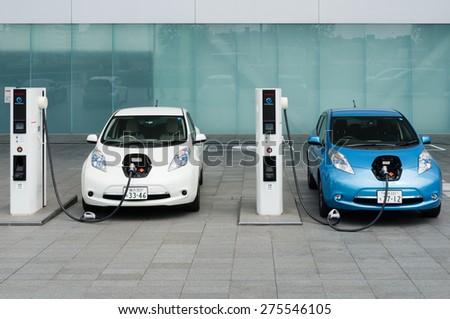 YOKOHAMA, JAPAN - APRIL 25, 2015: Electric cars, Nissan\'s \