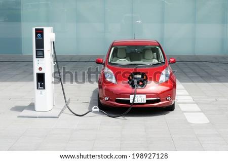 YOKOHAMA, JAPAN - JUNE 14, 2012: A NIssan\'s electric car \