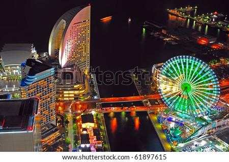Yokohama night view from Yokohama landmark showing the Yokohama Bay and Cosmo world, the famous amusement park in Yokohama city/ Yokohama Bay/Yokohama Bay stock photo
