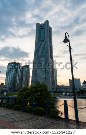 Yokohama's beautiful sky dusk and streetlight #1525141229
