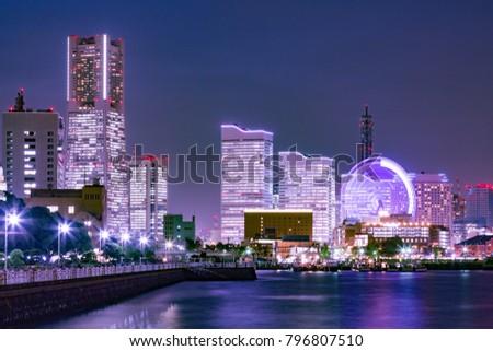 Yokohama's building group at night /Yokohama is a city in Japan