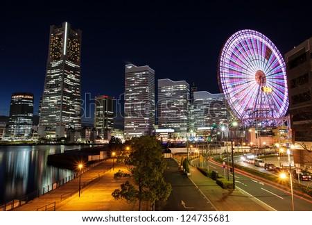Yokohama skyline night view