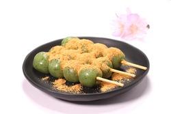 Yomogi Dango, mugwort flavored rice cake with sweet soy flour