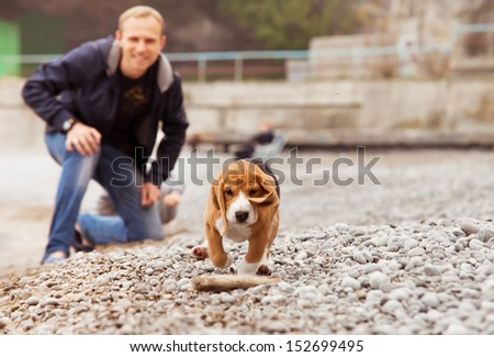 Yong man playing with his beagle pet on the sea coast