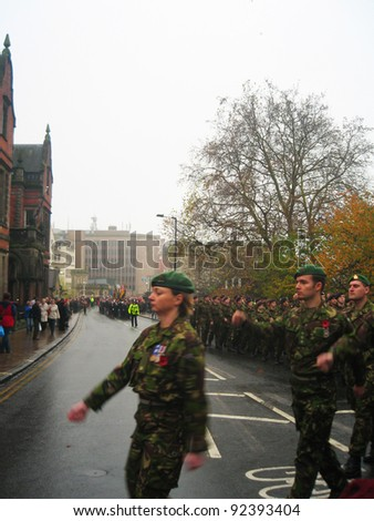 YORK, ENGLAND - DECEMBER 5: Armistice day practice by the British military and police in York city center on December 5, 2011 in York, England.