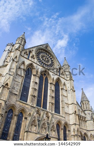 York Minster Cathedral - one of the largest of it's kind in Northern Europe. - stock photo