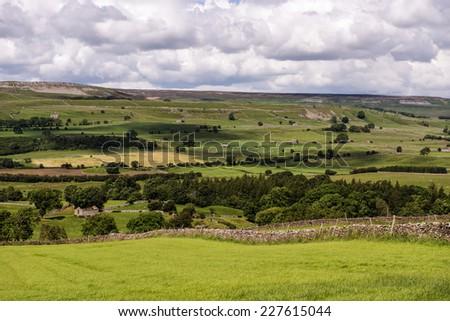 Yorkshire Dales National Park vista in Wensleydale, North Yorkshire, England #227615044