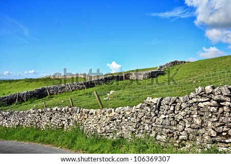 Yorskshire Dales on a beautiful suny day - stock photo