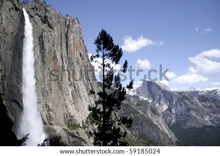 Yosemite Falls and Half Dome. Taken at Yosemite National Park, California, USA.