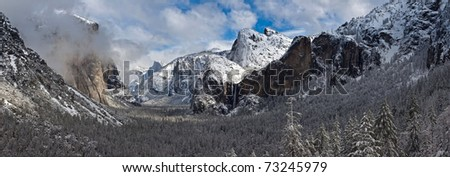 Yosemite from Tunnel View at winter - stock photo