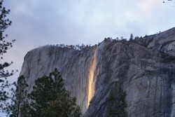Yosemite Horsetail at El Capitan fall firefall during sunset waterfall turning orange glowing fire