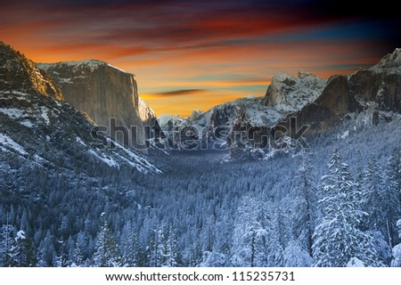Yosemite National Park. Beautiful landscape from winter time at Yosemite, California, USA