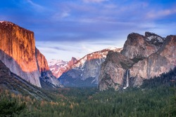 Yosemite national park, california iconic view, tunnel view, sunset.